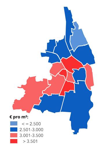 Möchten Sie eine Wohnung in einem der rot hinterlegten Gebiete verkaufen, können Sie dafür einen besonders hohen Preis pro m² erzielen